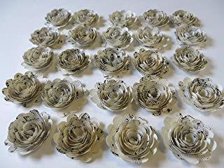 Scalloped Sheet Music Roses, Set of 24, Musical Party Theme Decorations, 1.5 Inch Paper Flowers, Baby Shower Decor Wedding Centerpiece