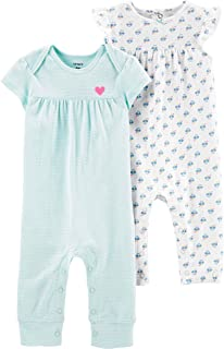 Baby Girls' 2-Pack Jumpsuits Blue Stripes & Floral