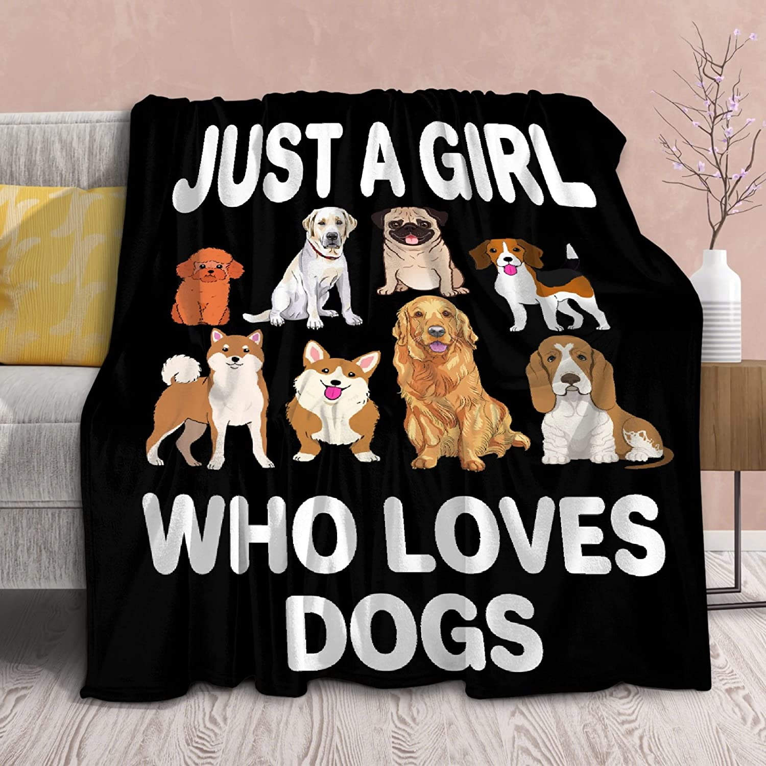 security We OFFer at cheap prices Blanket Just Girl Who Loves Dogs Quilt Soft Throws M Lightweight
