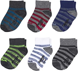 Reebok Infant & Toddler Baby Boys Quarter Cut Socks with Nonslip Traction Grip (6 Pack)