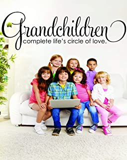 Grandchildren Complete Life's Circle of Love Family Grandmother Grandfather Grandma Grandpa Quote Vinyl Wall Decal Color: Black Size: 10 Inches X 20 Inches