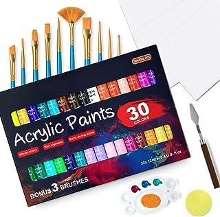 46 Pack Acrylic Paint Set, Shuttle Art 30 Colors Acrylic Paint with 10 Paint Brushes 3 Painting Canvas 1 Paint Knife Palet...