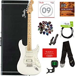 Fender Player Stratocaster HSS, Maple - Polar White Bundle with Hard Case, Cable, Tuner, Strap, Strings, Picks, Capo, Fender Play Online Lessons, and Austin Bazaar Instructional DVD