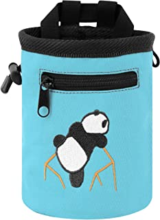 AMC Rock Climbing Panda Embroidered Chalk Bag with Zipper Pocket