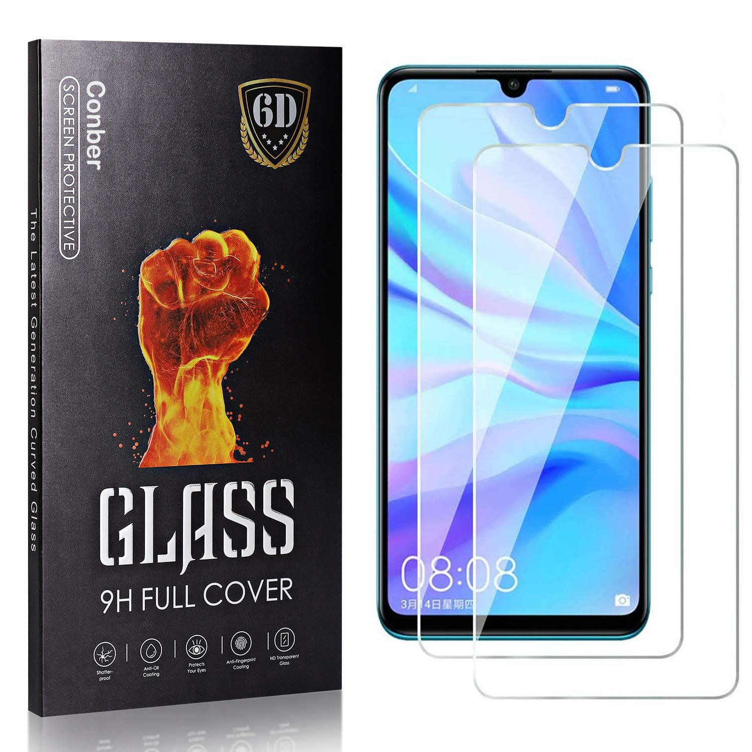 Luxury goods Conber 2 Pack Screen Protector Huawei 10S discount for Tempered Enjoy