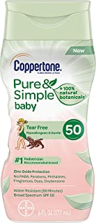 Coppertone Pure & Simple Baby Tear Free Mineral-Based Sunscreen Lotion Broad Spectrum SPF 50 (6 Fluid Ounce) (Packaging may vary)