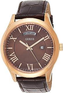 ساعة بسوار جلدي ومينا باللون البني للرجال من جيس - طراز W0792G3
