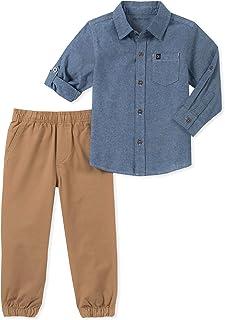 Calvin Klein 男孩 2 件套衬衫套装长裤