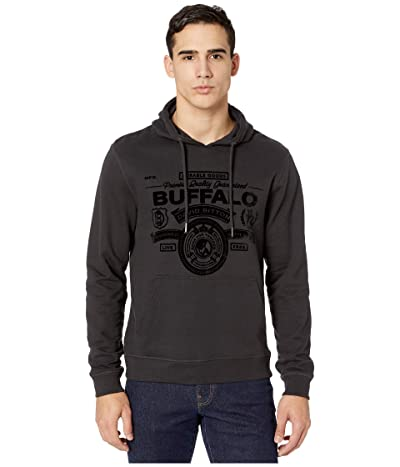 Buffalo David Bitton Fiband Long Sleeve Pullover Hoodie Logo (Charcoal) Men