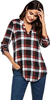 Hotouch Women V Neck Short Sleeve Pleated Casual Knit Tunic Shirts Blouse