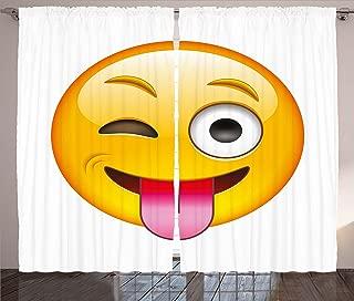 Ambesonne Emoji Curtains, Cartoon Like Technologic Smiley Flirty Sarcastic Happy Face with Tongue Modern Print, Living Room Bedroom Window Drapes 2 Panel Set, 108