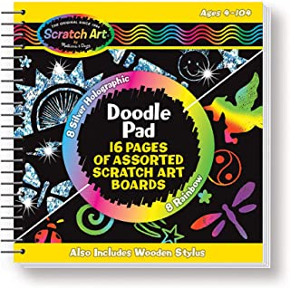 Melissa & Doug Scratch Art Doodle Pad Book - The Original (Arts & Crafts, Mini Stylus Included, Easy to Use, 16 Spiral-Bound Pages, Great Gift for Girls & Boys - Best For 4, 5, 6 Year Olds & Up)