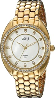 ساعة للنساء بمينا بيضاء وسوار مصنوع من الخليط المعدني من بورغي - BUR145YG
