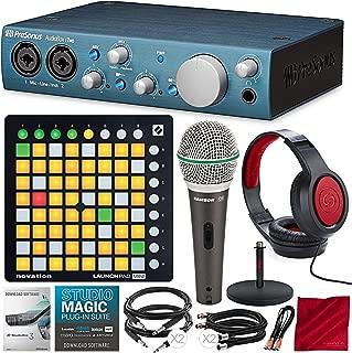 PreSonus AudioBox iTwo 2x2 USB/iPad Recording System with Novation Launchpad Mini MK2 Ableton Live Controller, Samson Microphone, Xpix Mic Stand, and Premium Bundle