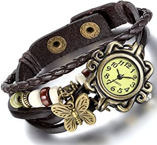 leather braided watch
