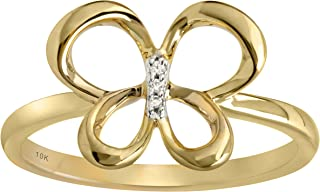 Jessica Simpson 10K Gold Diamond Accent Butterfly Ring