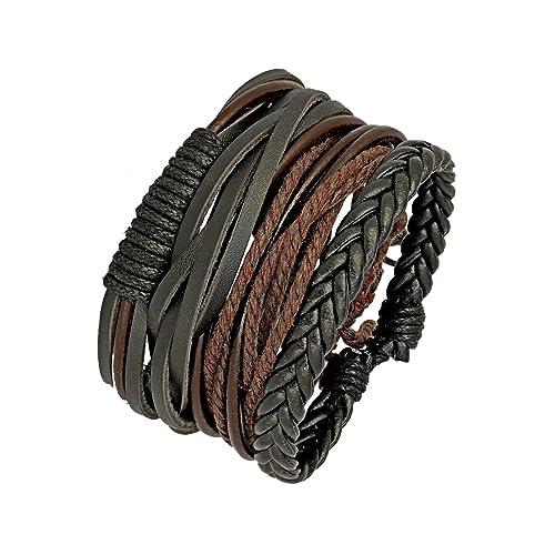 ZIVOM® Earthen 100% Genuine Leather Dyed Rope Multi Strand Wrist Band Bracelet Men Gift