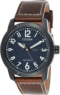ساعة سيتيزن للرجال بمينا زرقاء وسوار جلدي - موديل BM8478-01L