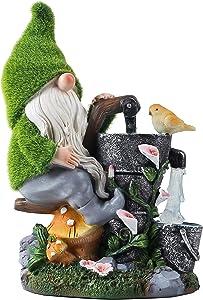 Solar Garden Gnome Statue Outdoor Decorations - Funny Gnome Garden Sculptures & Statues, 11.4