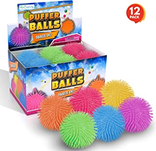 ArtCreativity Puffer Balls - Pack of 12 - Spiky, Soft and Squeeze Stress Relief Balls for Kids and Adults - Calming Sensory Balls for Autistic Children, Birthday Party Favors for Boys and Girls
