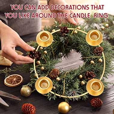 2 Pieces Advent Wreath Ring Advent Ring Candle Holder Christmas Advent Ring Wreath Table Decoration Taper Metal Candle Holder