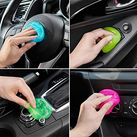 FiveJoy Car Cleaning Gels, 4-Pack Universal Auto Detailing Tools Car Interior Cleaner Putty, Dust Cleaning Mud for PC Tablet Laptop Keyboard, Air Vents, Camera, Printers, Calculator - 320g