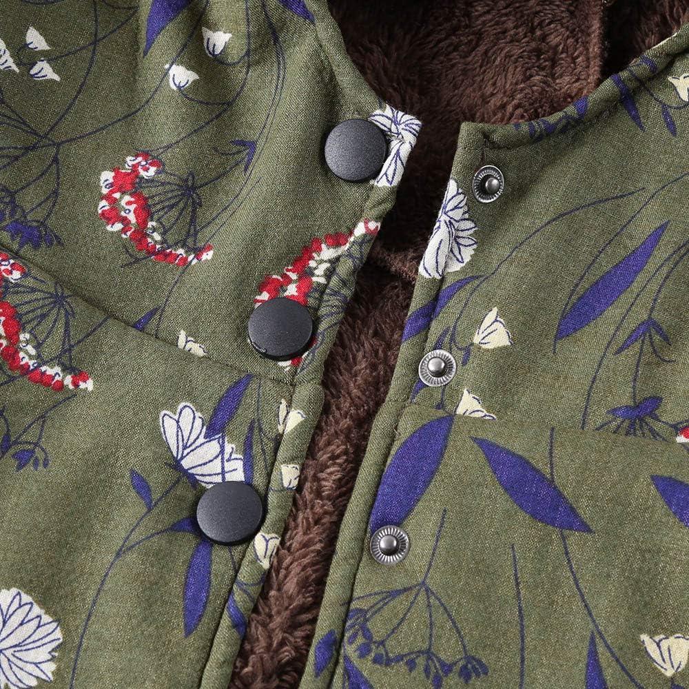 Fanxing Damen Wintermantel Jacke Warme Outwear Floral Print Hooded Taschen Vintage Oversize Mäntel Armeegrün1
