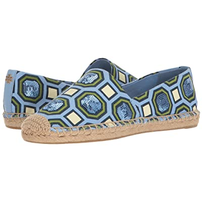 Tory Burch Cecily Embellished Espadrille (Light Chambray Octagon Square) Women