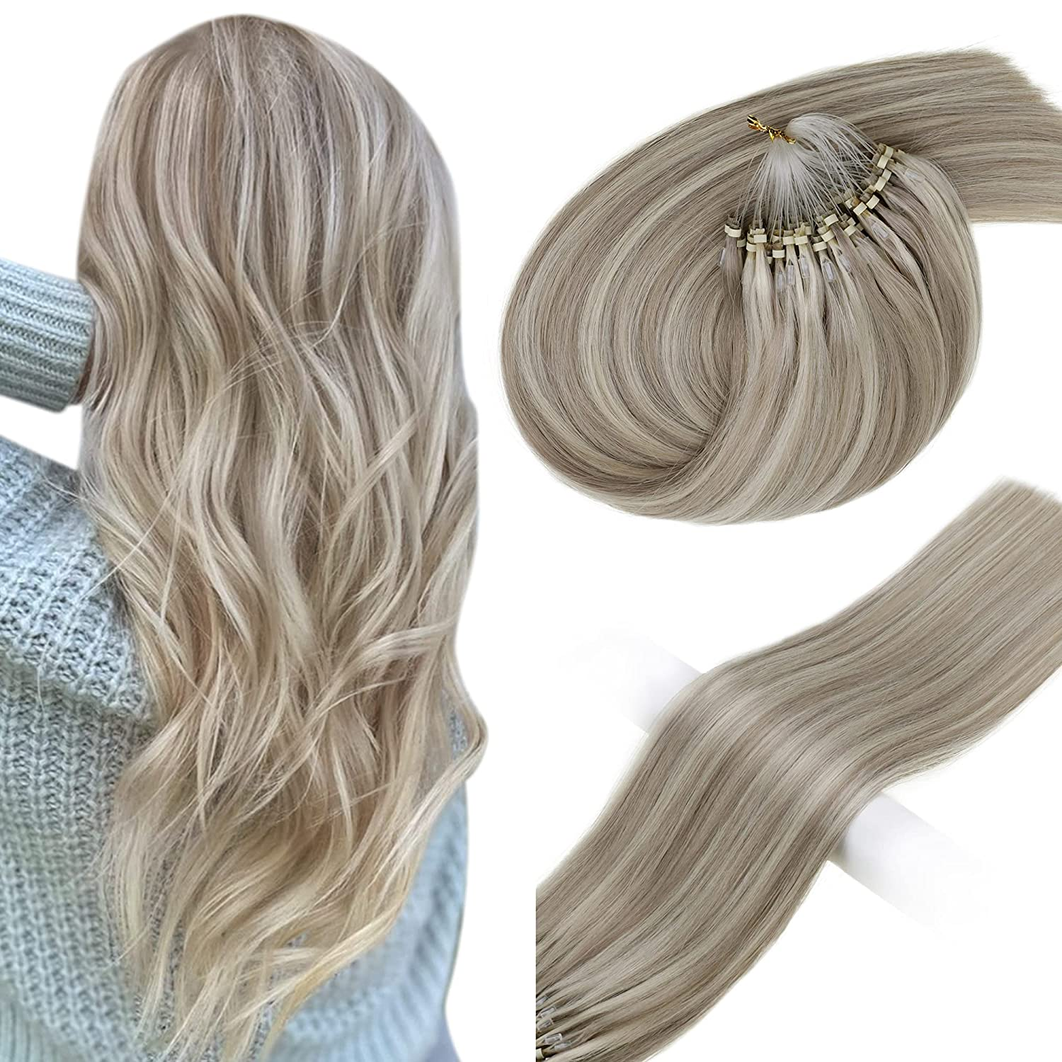 Vivien Blonde Micro Ring Hair Highl 16inch Don't miss the campaign Human Extensions 2021new shipping free