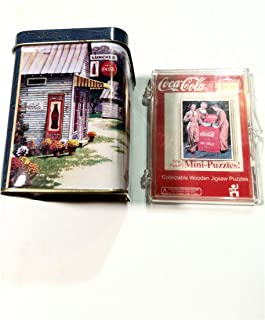 Giftco, Inc Coca-Cola Bundle. Candle in Collectors Tin and Mini Wood Puzzle.