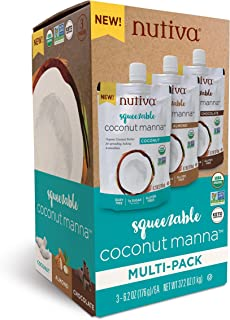 Nutiva Squeezable USDA Organic Coconut Manna Variety Pack, 6.2 ounce (Pack of 3)
