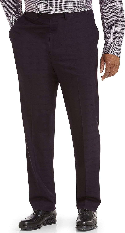 DXL Gold Series Big and Tall Easy Stretch Plaid Dress Pants, Burgundy