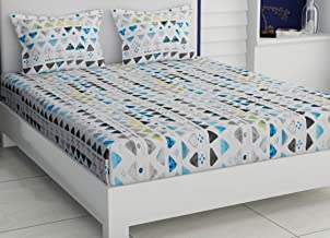 haus & kinder Triangle Interplay Modern Print, 100% Cotton, 186 Thread Count, Double Bedsheet with 2 Pillow Covers (Blue)