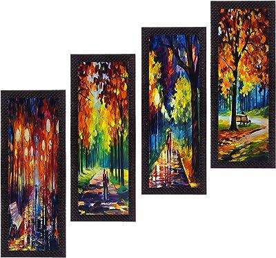 eCraftIndia 'Loving Couple Moments' UV Art Painting (Synthetic Wood, 71 cm x 41 cm, Set of 4, Satin Matt Texture)
