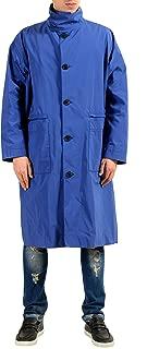 Versace Men's Blue Button Up Trench Coat US S IT 48