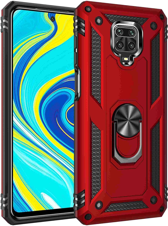 Max Power Digital Funda para móvil Xiaomi Redmi Note 9 Pro / 9S con Anillo Giratorio 360 Metálico Carcasa Rígida Antigolpes Resistente (Xiaomi Redmi Note 9 Pro / 9S, Rojo)