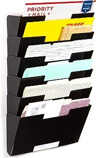 Wallniture Lisbon 6 Tier Wall Mount Metal Vertical Letter Size File Holder - Multi-Purpose Organizer Display Magazine Rack Black