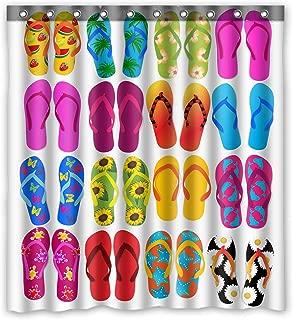 ZHANZZK Colorful Beach Flip Flops Waterproof  Bathroom Shower Curtain 66x72 Inches
