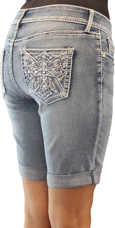 Project Long Beach Mall Time sale Indigo Women Jean Missy Sh Crystal Embellishment Bermuda