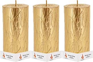 Michael Zohar Candles Gold Pillar Candle, Special Artist Design, Unscented 8 inches Tall | Dripless, Smokeless, Great for ...