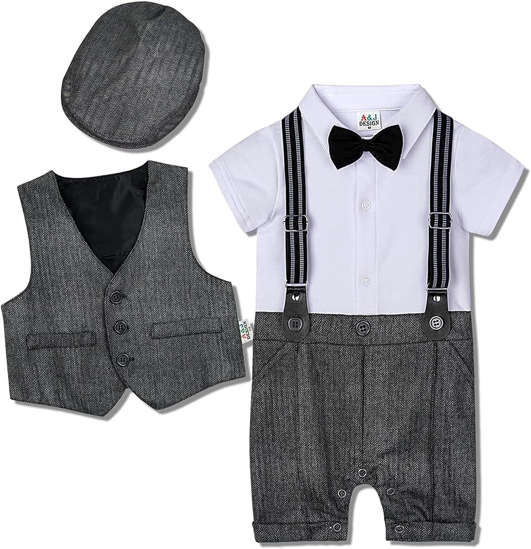 AJ DESIGN Baby Boys Max 70% OFF Outfit Vest Inexpensive Hat Gentleman Romper 3pcs