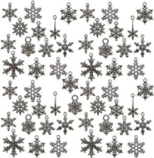 ZC-charms 88 PCS Snowflake Charms Collection - Antique Silver Mixed Christmas Snowflake Flower Pendant (HM5)