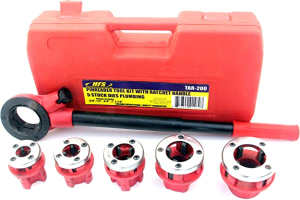 Pipe Threading Tool With Ratchet Handle 3 8 1 2 3 4 1 1 1 4 Dies