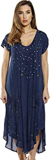 Riviera Sun Lace Up Acid Wash Embroidered Dress Short Sleeve Dresses for Women