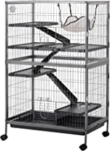 """PawHut 50"""" H 4 Tier Steel Plastic Small Animal Pet Cage Kit for Little Rabbit Guinea Pig Ferret with Wheels Brakes Hammock Removable Tray - Silver Grey Hammertone"""