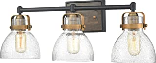 WILDSOUL 40063BK Modern Farmhouse 3-Light Glass Wall Sconce, LED Compatible Vintage Wood Rustic Seeded Glass Bathroom Vanity Light Fixture, Industrial Distressed Oak, Matte Black and Antique Brass