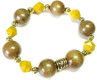 Mustard Yellow Mookaite Jasper Gemstone, Wood & Gold Tone Stretch Bracelet Ap. 19.5cm