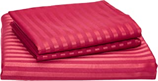 IBed home 2724327787687 Ultra Soft Striped Bed Sheet 3 Piece Set, Cotton, King, Red, H24.6 x W33.4 x D5 cm