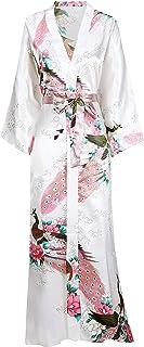 BABEYOND Kimono de Seda Vestido de Satén Kimono Pavo Real