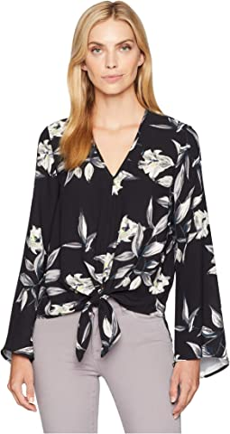 Flare Sleeve Tie Front Top
